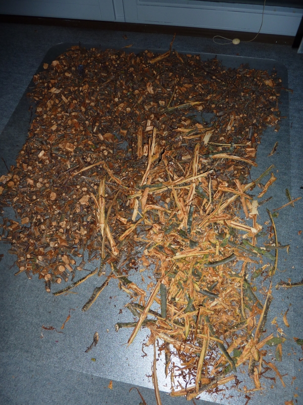 Rinde und gehäckselte Aststücke ausgelegt zum oxidieren (ein kleiner Teil)